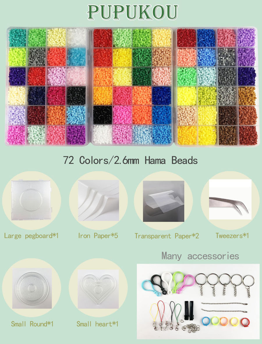 Mini 2 6 Hama Beads 24/48/72 Colors PUPUKOU Beads Tool and Pegboard  Education Toy Fuse Bead Jigsaw Puzzle 3D For Children