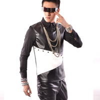 Tailor Made Men Rivets Pu Leather Tank Tops Male Leather Splice Vest Sleeveless Tees Hip Hop