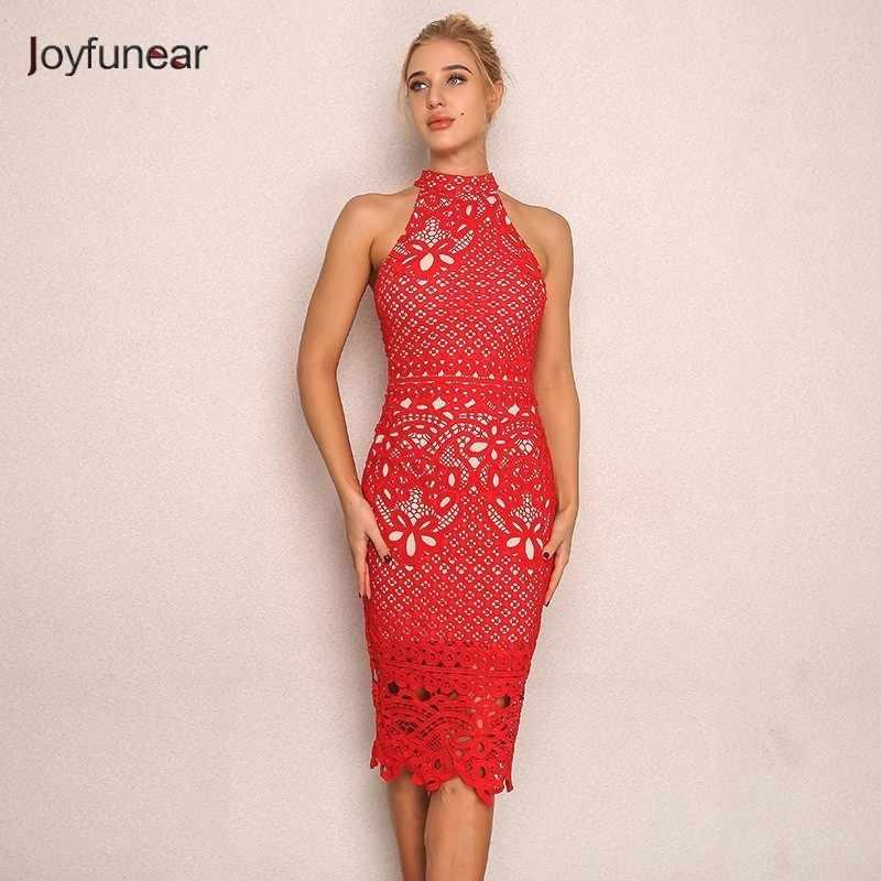 75bc1677c852 Joyfunear New Bodycon Midi Dress Summer Vestidos Autumn Clubwear Backless  Lace Red Dress Women Embroider Floral