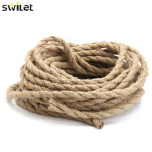 SWILET 10M 2x0.75mm Hemp Rope Wire Retro DIY Braided Fabric Electrical Wires Cable For DIY Pendant lights(China)