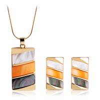 Blucome Shell Square Pendant Necklace Earrings Costume Jewelry Set For Women Gold Color Colar Brinco Parure