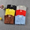 2016 Muchachas Dulces de Colores Casual Suéteres de Algodón Con Cuello En V Cardigans Niño Niños Suéter Cardigans Prendas de Punto Chicas Niños prendas de Vestir Exteriores