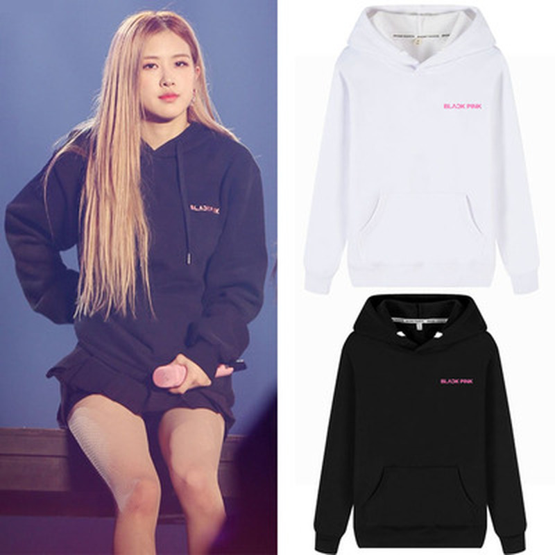 2019 Fashion KPOP BLACKPINK ROSE Concert Album Hoodie Hip Hop Casual Style  Loose Plus Size Hooded Clothes Pullover Printed