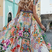 CUERLY Boho floral women summer 2019 long dress Sexy spaghetti strap backless dresses Casual beach plus size vestidos