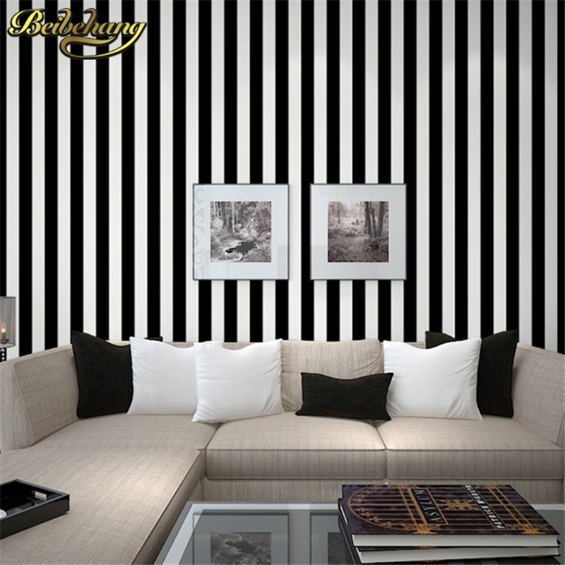 beibehang wall paper High Quality Black and white striped for walls modern tapete papel de parede roll for living room bedding top quality fabric mural wallpaper modern striped flock wall paper papel de parede tapete bedroom white beige coffee 53x1000cm