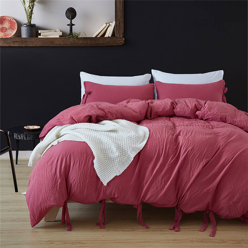 LILIYA2/3Pieces Red Bean Paste Polyester Bedding Set Comfortable Pillowcase High Quality Duvet Cover#CN