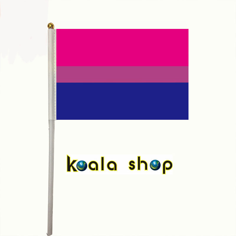 100pcs/ package <font><b>flag</b></font> size 14*21cm with plastic flagpole lengt 30cm LGBT bi <font><b>pride</b></font> <font><b>bisexual</b></font> hand <font><b>flag</b></font> image