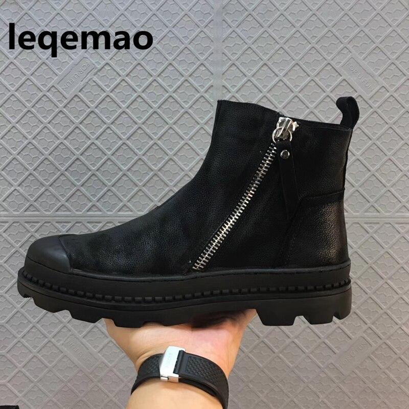 Mode Hiver Homme Haute Qualité Armée Style de Combat De Fourrure Confortable Chaud Sneaker En Cuir Véritable Hommes Noir Chaussures Marque Cheville Bottes