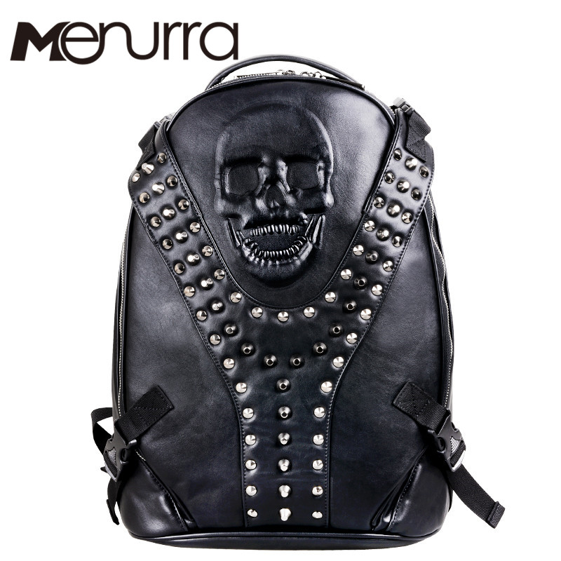 2019 New Brand Style Novelty Design Men's Travel&School Backpacks Leather Solid Fashion Cool Male Boys Rivet&Eagle Decorate Bags
