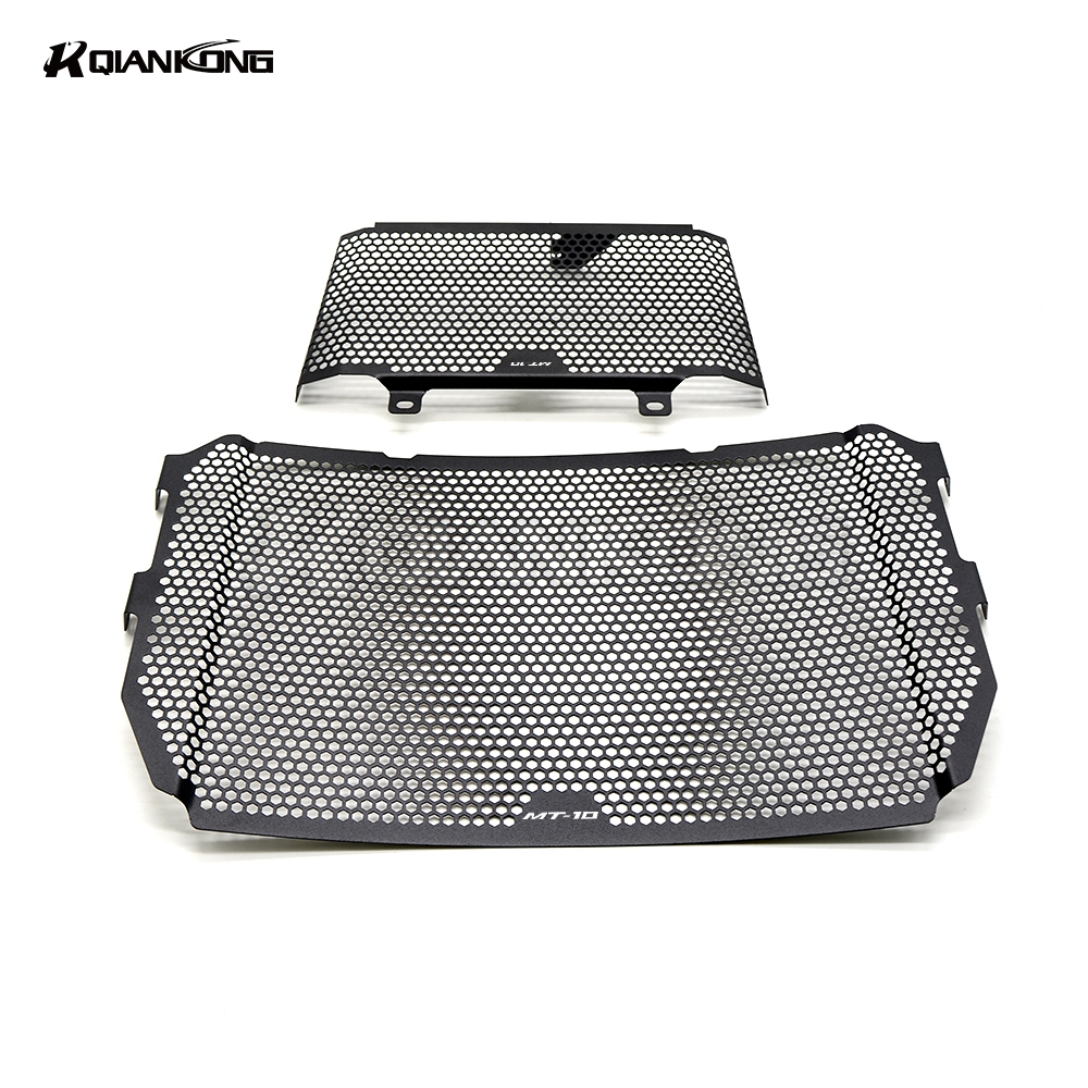 R QIANKONG BLACK Oil Cooler Guard Stainless Steel Radiator Grille Cover Protection FOR Yamaha FZ-10 MT-10 Radiator 2016-2017 car front bumper mesh grille around trim racing grills 2013 2016 for ford ecosport quality stainless steel