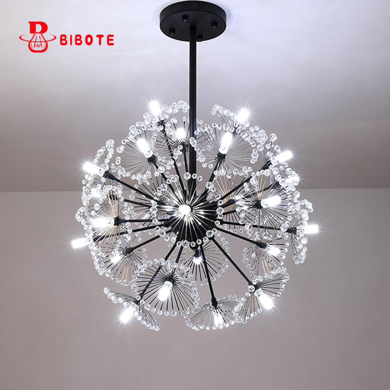 Modern Led Crystal Pendant Lamp Dandelion Hanging Light Fixture For Dining Room Bedroom Lustres De Cristal Luminaire Suspendu