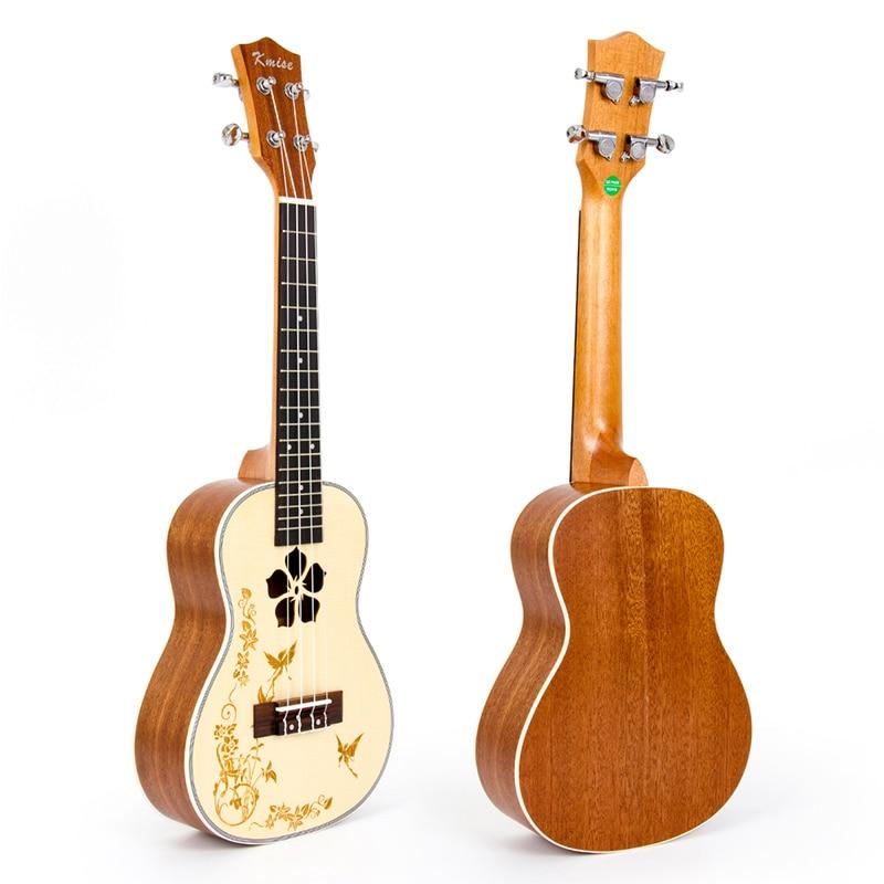 Kmise Ukulele Concert Solid Spruce Ukelele 23 Inch 18 Frets 4 String Hawai Guitar kmise concert ukulele black tint satin ukelele uke sapele 23 inch 18 frets 4 string hawaii acoustic guitar with gig bag