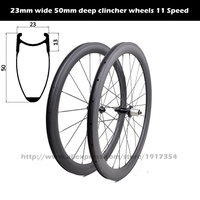 700C 23mm wide 50mm deep clincher wheels 11 Speed, wide clincher road wheels powerway R13 Hubs 11S for cheap