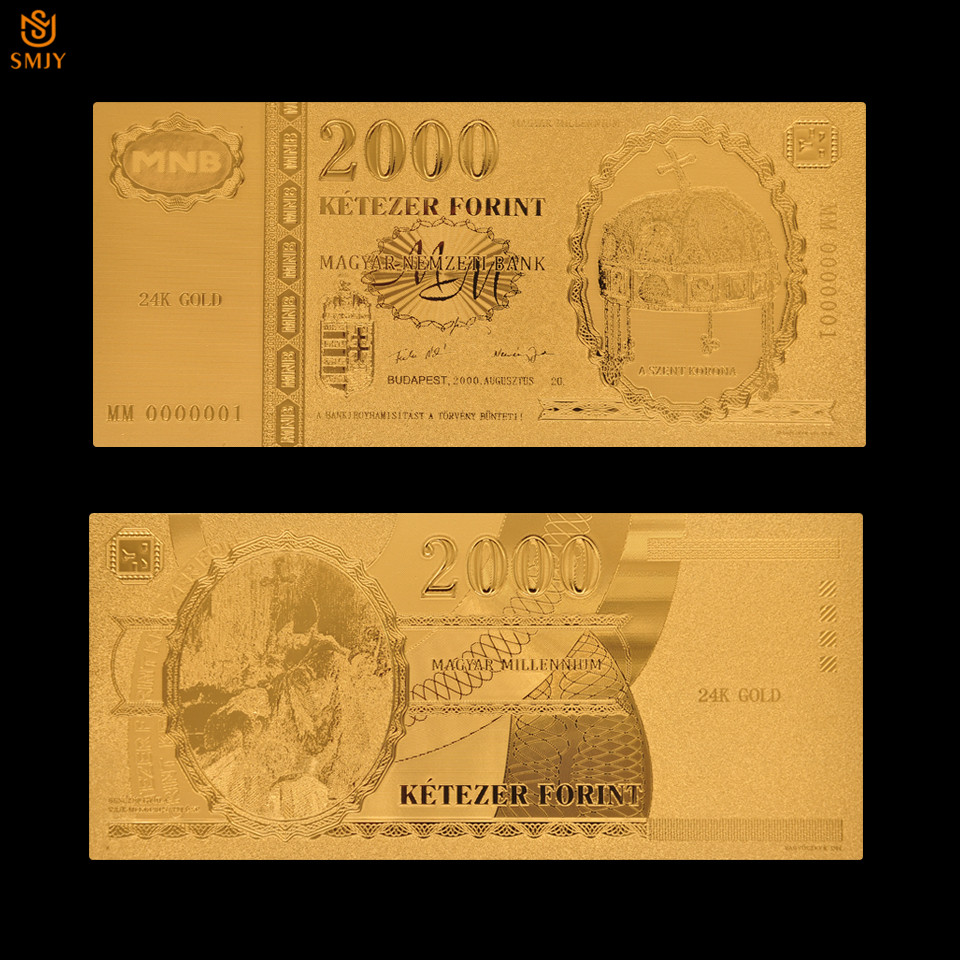 Currency Paper New Product 2018 Hungary 2000 Forint Gold Foil Money Souvenir Paper Banknote Collections