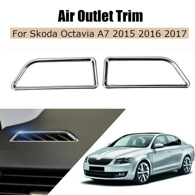 Estilo de coche tablero de salida de aire de ventilación de acero inoxidable Bezet salida decoración Trim para VW skoda octavia a7 2015, 2016 2017