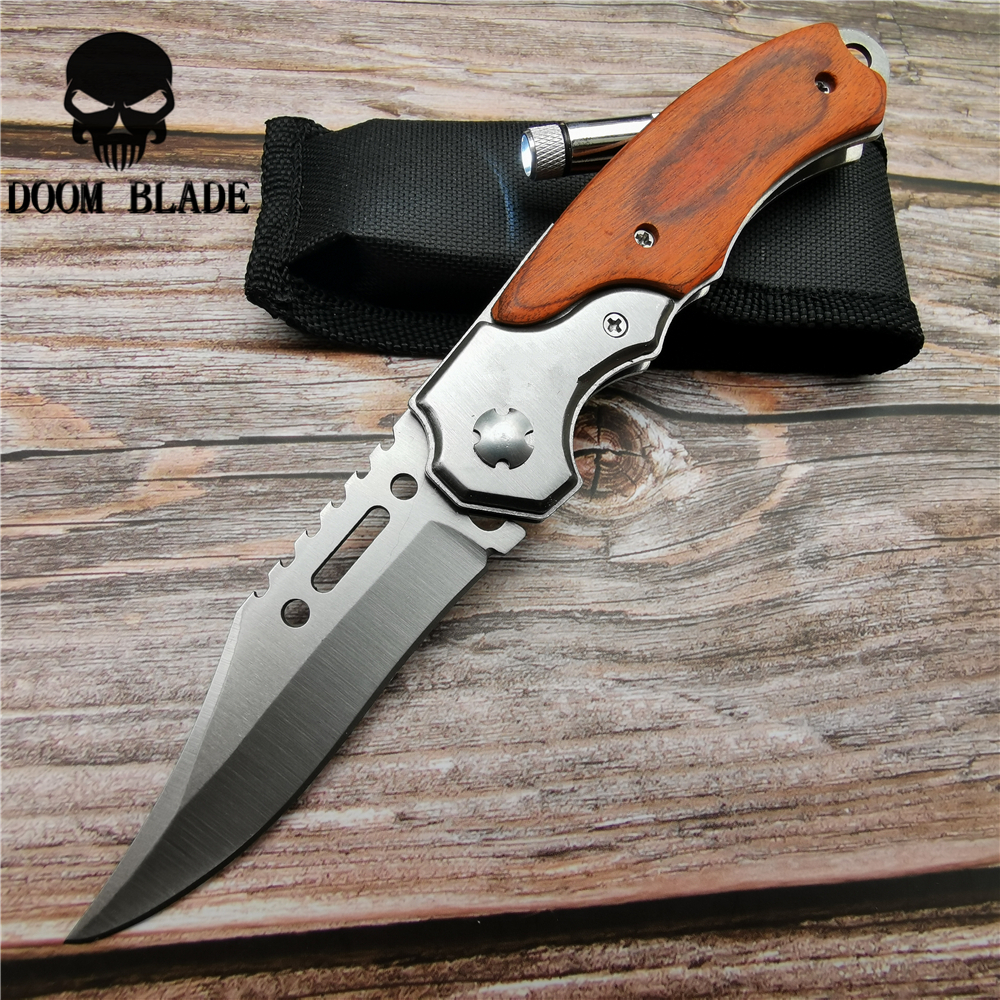Image 3 - 200mm 5CR15MOV Blade Quick Open Knives Pocket Tactical Folding Blade Knife Survival Hunting Camping Pocket Knife with LED New-in Knives from Tools