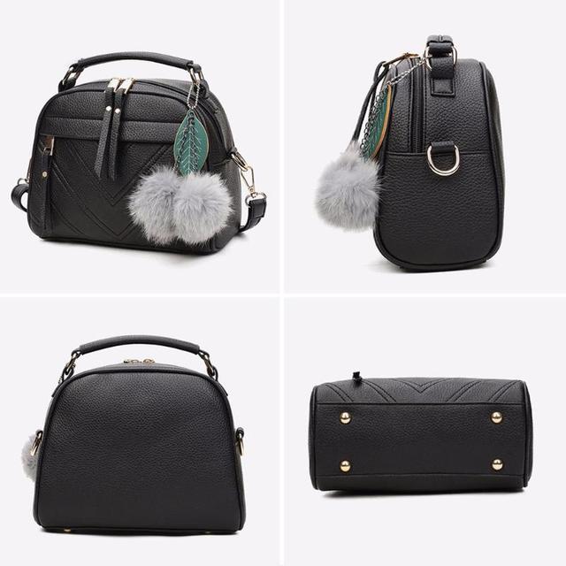 Stylish Women Handbag PU Leather Cute Mini Messenger Shoulder Bags With Ball Toy Bolsa Feminine Female Party Shopping Handbags 2