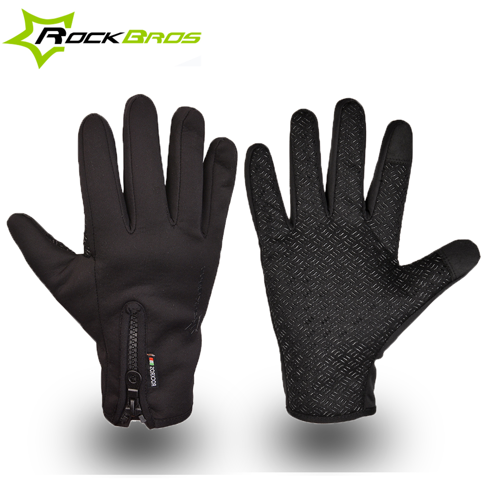 RockBros Cycling Ski Winter Windproof Outdoor Sports Full Finger Black Gloves