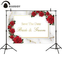 Allenjoy Fotografie Achtergrond Rode Roos Marmer Bruiloft Gepersonaliseerde Custom Achtergrond Photobooth Photocall Stof Banner