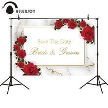 Fotografia Allenjoy tło czerwona róża marmur ślub spersonalizowane niestandardowe tło photoball photocall tkanina sztandarowa