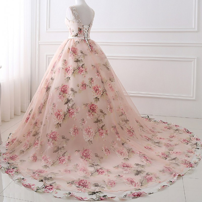Beautiful Cheap Flower Printed Floral Wedding Dresses 2017 Princess ...