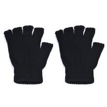 Мужские черные трикотажные эластичные теплые перчатки без пальцев