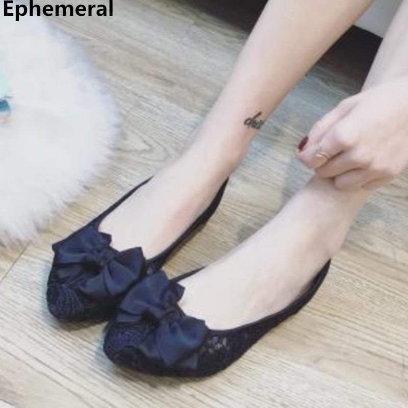 Flats-Shoes Wide-Foot Pointy Butterfly-Knot Black Slip-On Breathable Plus-Size Lady's