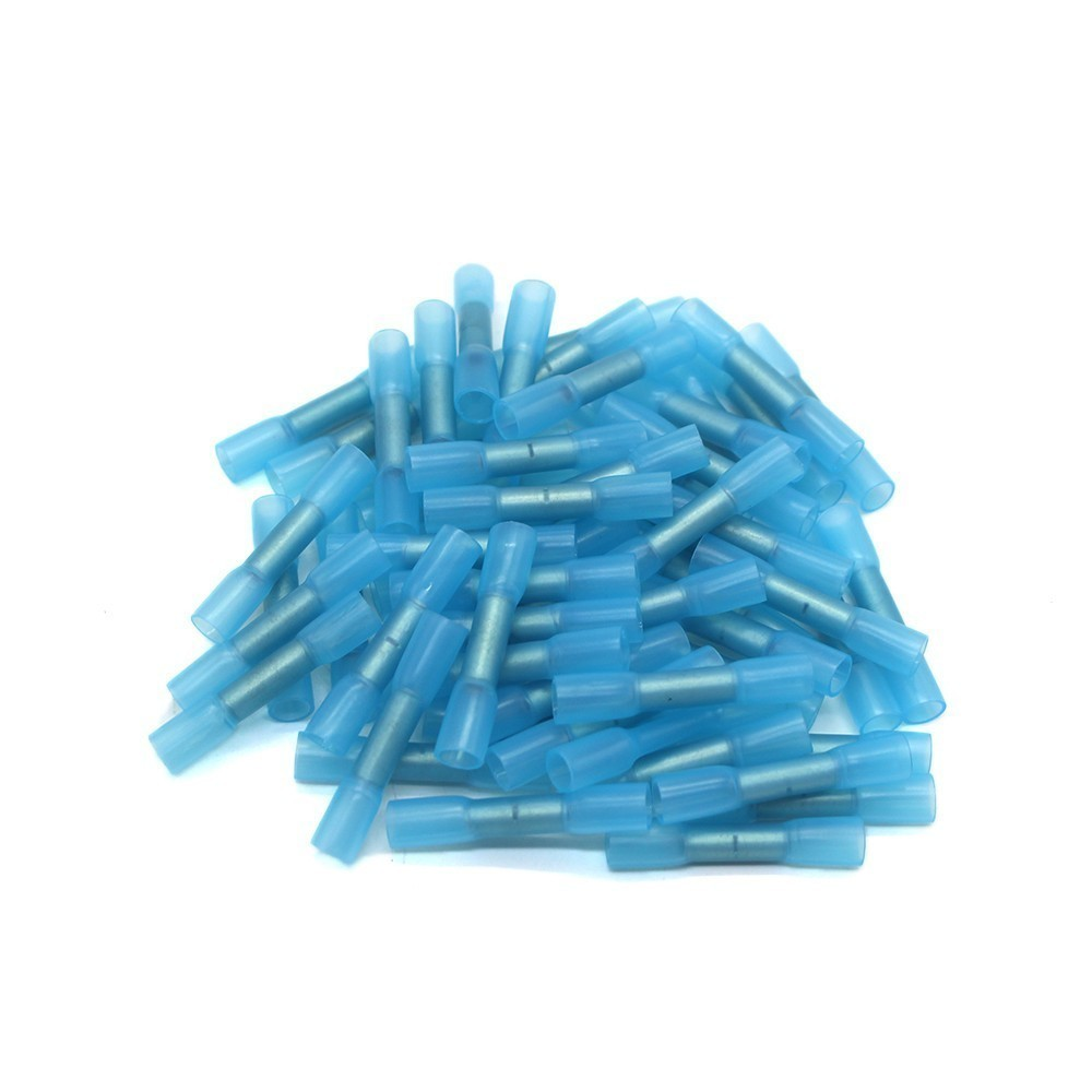 100PCS BHT2 Heat Shrinkable Butt Waterproof Connector 16-14AWG 1.5-2.5mm2 Splice Butt Heat Shrink Tube Joint Crimp Terminal jtron ta2024 dc 12v double track 15w 15w car pc hi fi mini digital amplifier board green