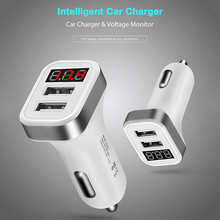 Car Charger Digital Display 2.1A Dual Port USB Charger Adapter for HUAWEI iPhone Samsung Xiaomi Tablet phone Phone Car Charger universal car phone charger 2 port mini dual usb phone charger adapter smart display for iphone for samsung tablet pc cellphone