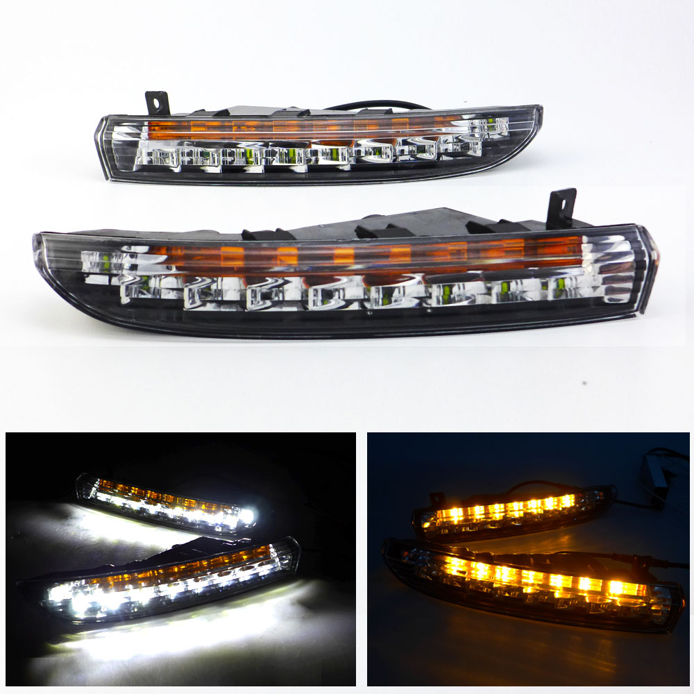 DRL Daytime Running Light for for Volkswagen Passat CC 2008 2009 2010 2011 2012 2013 Left Right White DRL Yellow Signal Light car led daytime running light for mazda 3 axela fog lamp drl 2010 2011 2012 2013 white yellow