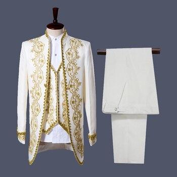 Gold Embroidery 3 Piece Tuxedo Suit (Jacket+Pants+Vest) Men Party Wedding Suits Men Singer Opera Stage Prom Suit Costume Homme