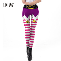 2019 Christmas Santa Style Leggings Women Snow Llama Printed Sporting Leggings Elastic Quick Dry Slim Long Pants