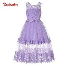 Summer New Purple Girls Big Kids Sleeveless Princess Tulle Tutu Dress Wedding Prom Party Dresses Vestido