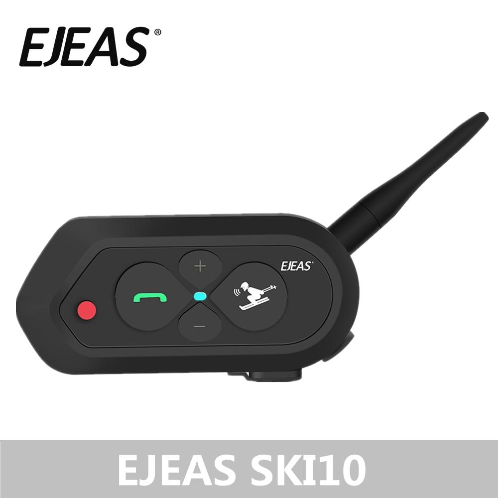EJEAS SKI10 1200 m Bluetooth Capacete DE ESQUI Intercomunicador Fone de Ouvido Grande Botão 500 mAh AUX Auo Reconexão Firmware Atualizável para 2 esquiadores