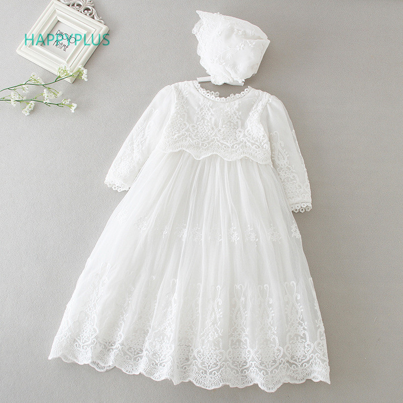 HAPPYPLUS Baby Dress Party-Gown Birthday-Girl Second-First Infant Baptism Long-Sleeve/sleeveless