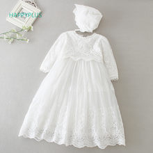 HAPPYPLUS Baby Dress Long Sleeve/Sleeveless Kids Second First Birthday Girl Party Gown for Christening Infant Baptism Dresses(China)