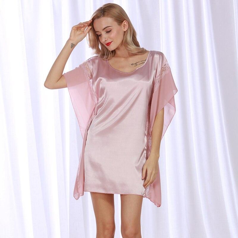 Ladies Sexy Silk Satin   Nightgown   Short Sleeve Night Dress Lace   Sleepshirt   Round Neck Sleeping Dress Summer Home Dress For Women