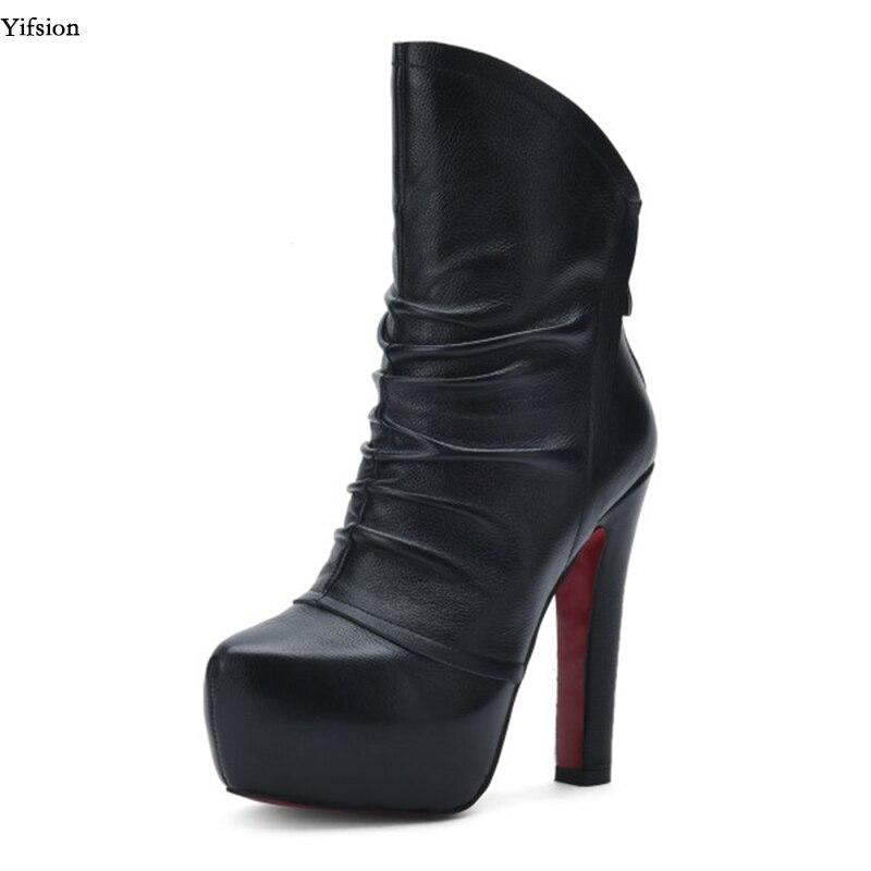 Bout Cuir Hauts Carré Yifsion D0686 Bureau Femmes Cheville D hiver À forme  Taille 3 9 Black Bottes En Noir ... 6ad86f538cea