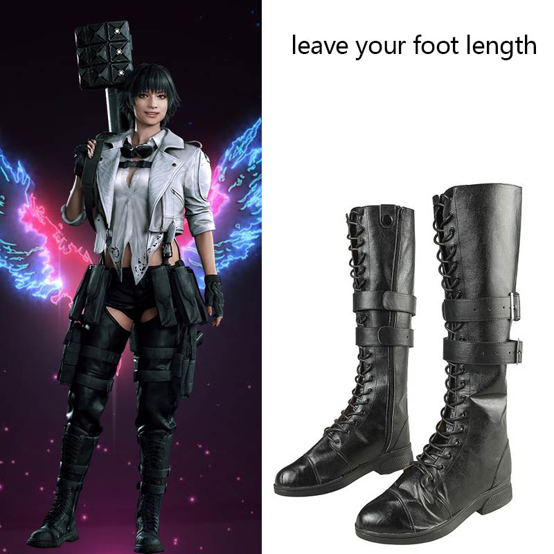 Game Devil May Cry 5 Cosplay Boots DMC5 Lady Mary <font><b>Costume</b></font> Shoes Leather <font><b>Sexy</b></font> <font><b>Halloween</b></font> Carnival <font><b>Women</b></font> Long Boots Custom Made image