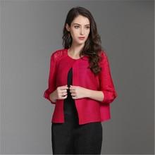 Miyake folds openwork jacket 2019 autumn new style pleated blouse loose stretch slimming large size senior female tops