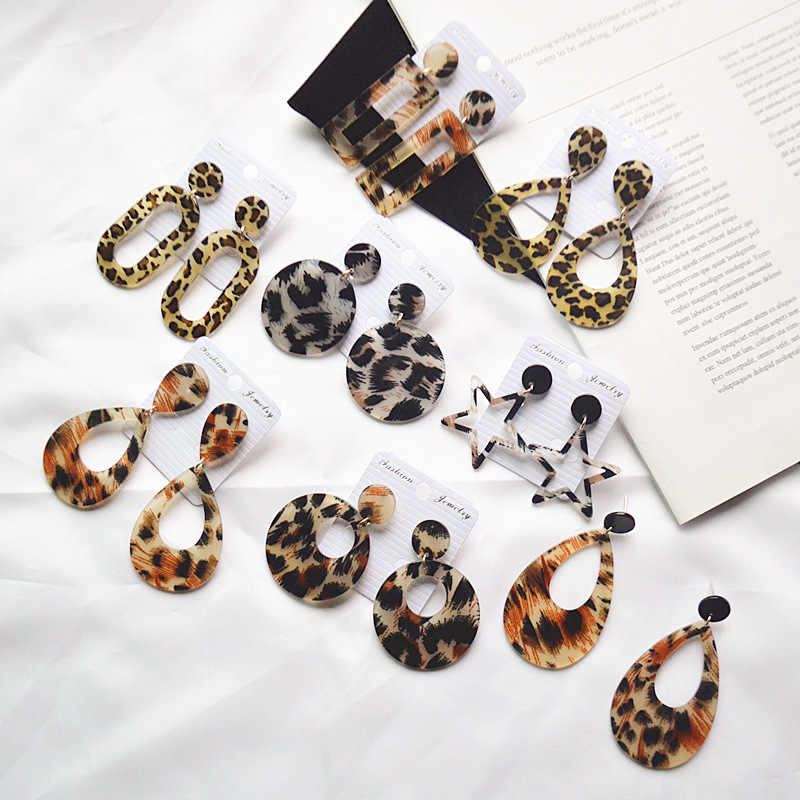 2018 New Fashion Acrylic Leopard earrings Personality Atmosphere Exaggerated Edition Geometric Round Brown Drop Earrings Jewelry