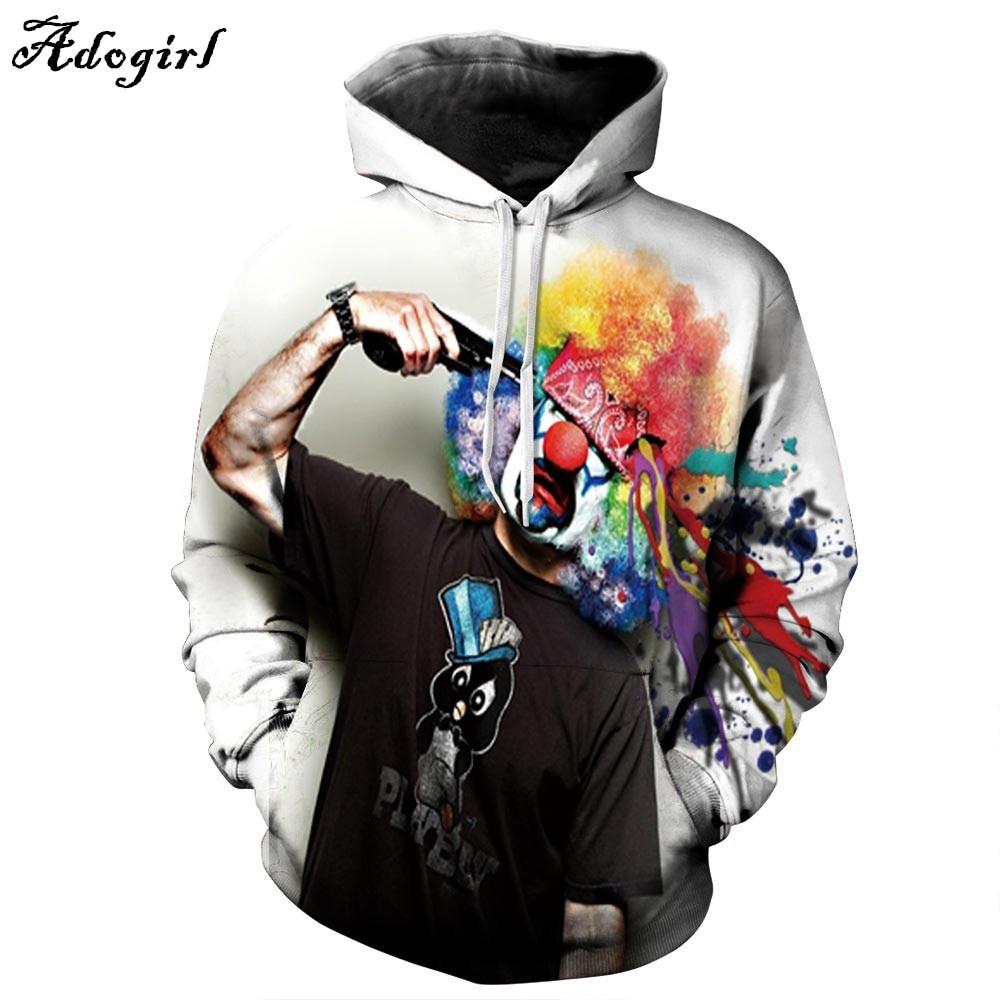 Adogirl Autumn Winter Fashion Men/women Hoodies With Cap Print Gun Clown Hooded Hoody Sweatshirt 3D lovely Tracksuits S-XXXL