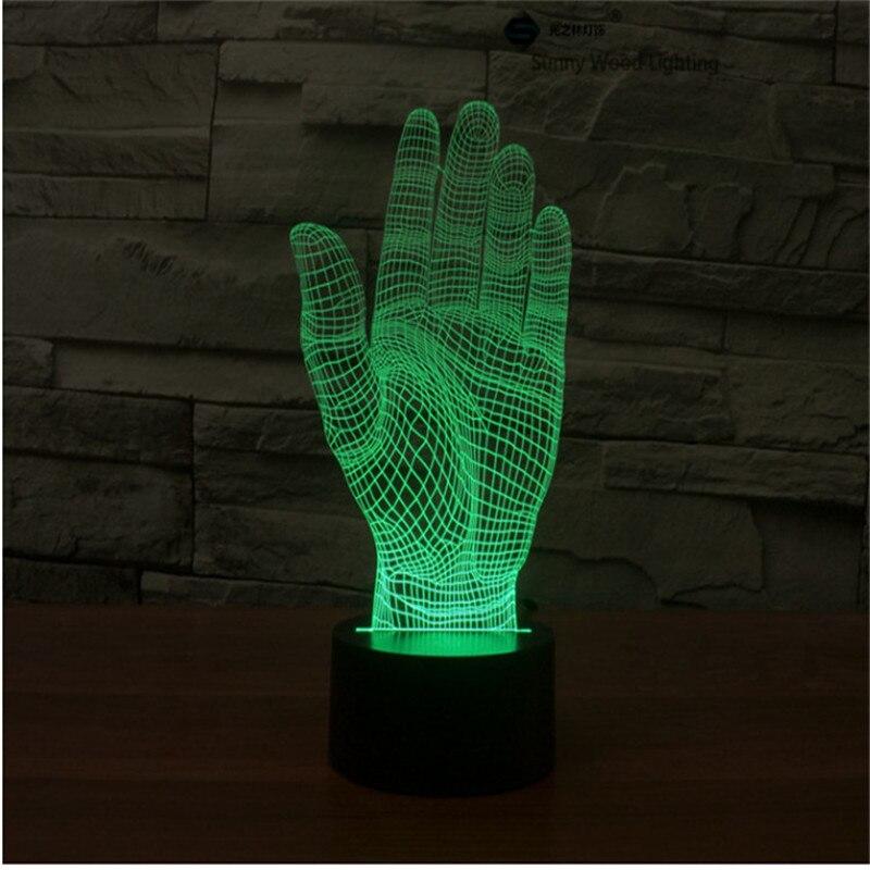 Palm сенсорный выключатель LED 3D, визуальную иллюзию 7 видов цветов Изменение 5 В USB для ноутбука, рождество мультфильм игрушки лампы