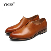 YIGER New men Derby shoes dress man British retro pointed toe slip-on casual Breathable mens low business 269