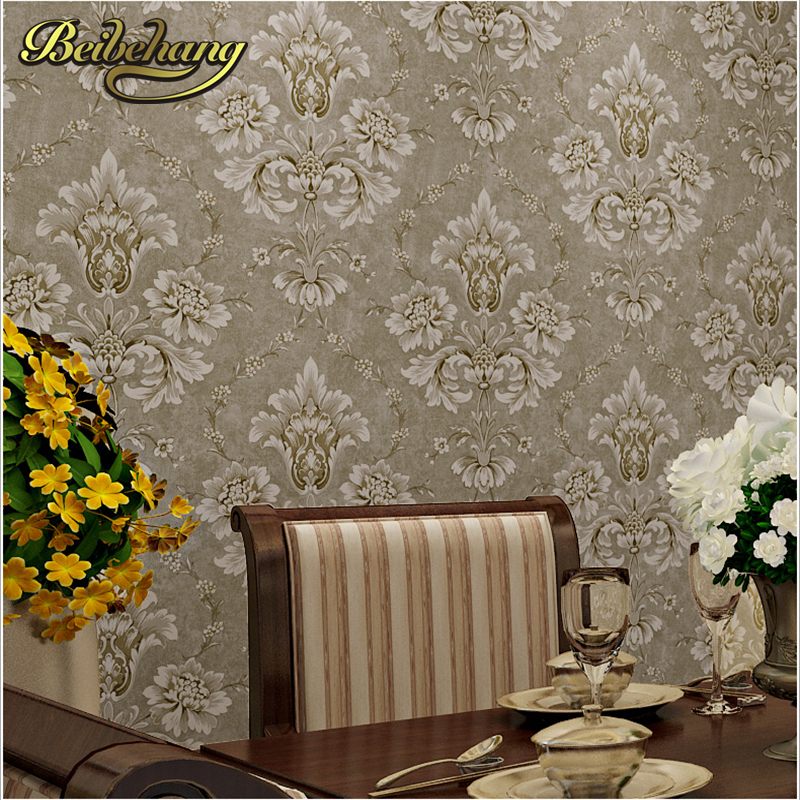 beibehang papel de parede,European pastoral retro non-woven wallpaper Damascus paved the blue-green living room bedroom beibehang papel de parede retro classic apple tree bird wallpaper bedroom living room background non woven pastoral wall paper