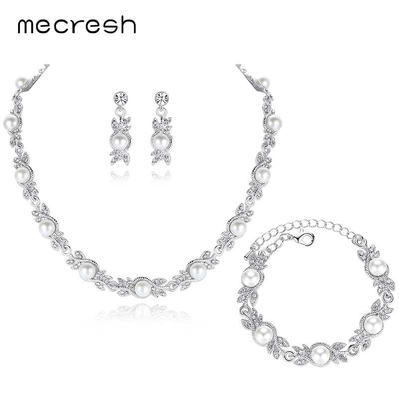 Mecresh Simulated Pearl Bridal Jewelry Sets Silver Color Crystal Wedding Necklace Earrings Bracelets Jewelry Sets MTL444+MSL197