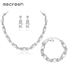 Simulated Pearl Bridal Jewelry Sets Silver Color Wedding Necklace Earrings Bracelets Sets Party Jewelry