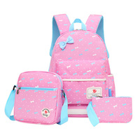 QZH 3 PCS Set Backpacks Set Women Animal Cute Children Girls Bow Printing Schoolbags Backpack Teenager