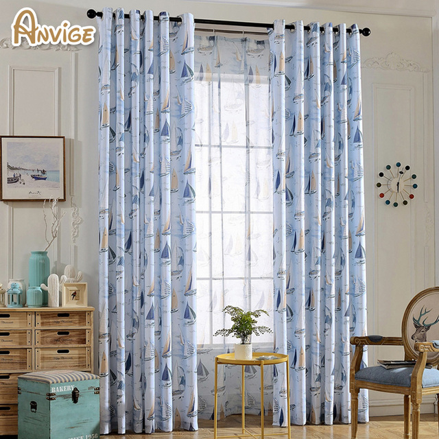 Cartoon Half Blackout Curtains Boat Printed Window Drape Sheer Curtain For Living Room Panels