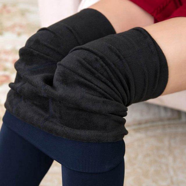 Warm leggings Women winter skinny stretch fleece pants Women Casual Faux Velvet ankle-length Legging Knitted Thick Slim Leggings